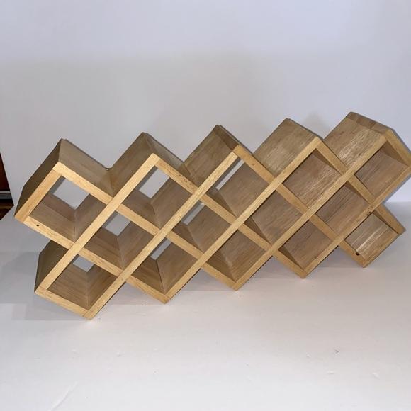 Vintage wooden geometric spice rack